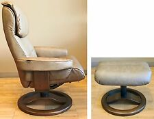NEW Cappuccino Leather ScanSit 868 Ergonomic Lounge Recliner Chair + Ottoman
