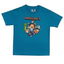 Minecraft Run Away! With Logo Steve Creeper Gamer License Youth Kids Shirt S-XL