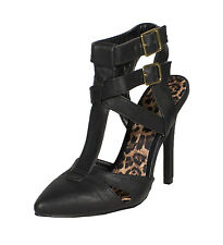 Potion-76! Pointy Toe Strappy Cut Out Ankle Sandal High Heel Black Leatherette