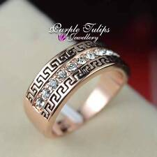 18K Rose Gold Plated Retro Pattern Band Ring W/ Swarovski Crystals