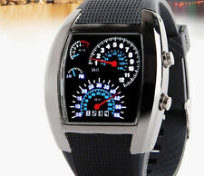 Sports RPM Turbo Blue & White Flash LED Car Speed Meter Dial Men Gift Watch HOT
