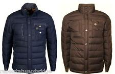 DUCK & COVER Jacket Mens Quilted Coat Foster V2 Navy & Brown Sizes: L - XXL