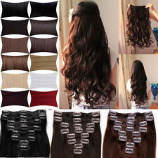 UK Fashion Straight/Curly/Wave Clip In Hair Extensions Party Wedding U SALON DIY