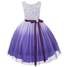 Ombre Flower Girls Dress Easter Christmas Pageant Party Wedding Lavender KD322