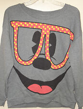 Disney Women's Gray (Mickey Big Face Wearing Colorful Glasses) Sweatshirt