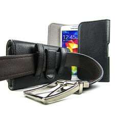 Medium Business Formal Leather Holster Pouch Case Belt Clip Magnetic Flap Black
