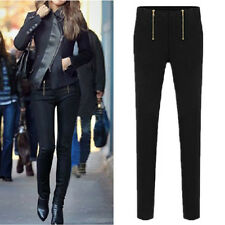Fashion Women Black Sexy zippers Pencil Pants Slim Stretch Leggings Trousers CA#