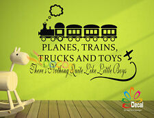 Wall Decor Decal Sticker Lettering Words Quote PLANES TRAINS TRUCKS & TOYS BOYS
