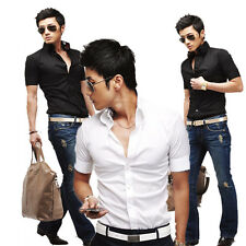 2014 Vogue Mens Short Sleeve Cool Fitted Casual Formal Comfy Shirts  Tops S~XL 2