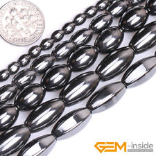 Natural Black Hematite Gemstone Olivary Beads For Jewelry Making Strand 15""