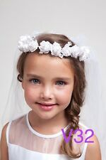 bridal flower girl First 1st Communion tiara crown white veil Pageant Christmas