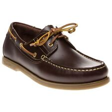 New Mens Wrangler Brown Ocean Leather Shoes Boat Lace Up
