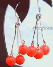 SALE 6-7mm Round natural Red coral 40mm Dangle 3 pcs earring silver 925 hook-374