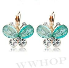 NEW Style Women Fashion Elegant Crystal Rhinestone Butterfly Ear Studs Earrings