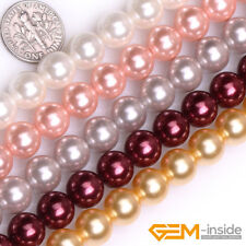 "10mm Shell MOP Pearl Gemstone Round Beads For Jewelry Making 15"" Assorted Colors"
