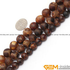 Natural Vintage Wooden Agate Gemstone Turtleback Fire Agate Frost Round Beads