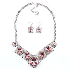"""Fashion Hot Exaggerated White K Rhinestones Necklace Earrings Jewelry Sets Gift"