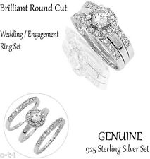 Beautiful Brilliant Cut Engagement / Wedding Genuine Sterling Silver Ring Set