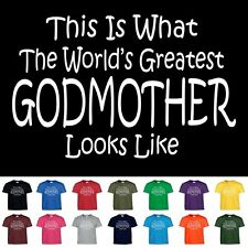 Worlds Greatest GODMOTHER Funny Mothers Day Christening Christmas Gift T Shirt