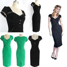 Womens Pinup Retro Wear To Work Party Cocktail Business Bodycon Pencil Dress SH