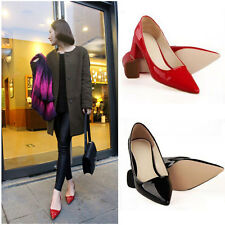 Women Ladies Pointed Toe High Heels PU Leather Shoes Low Cut Vamp Black Red