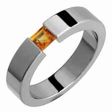 Titanium Ring Citrine Tension Set Comfort Fit 5mm Wide Wedding Band For Womens
