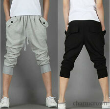Mens Casual Harem Baggy Dance Sport Sweat Pants Capri Shorts Cropped Trousers