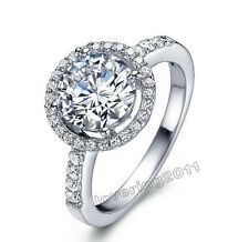 Lovers Gift White Sapphire Gemstones 925 Silver Engagement Wedding Ring Sz 5-11