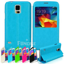 Luxury Window View Flip PU Leather Case Cover For Samsung Galaxy S5 S V i9600