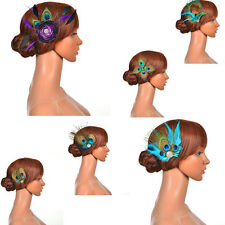 6 Styles Vintage Peacock Feather Fascinator Bridal Hair Flower Wedding Hairclips