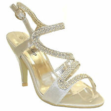 LADIES WOMENS PROM BRIDAL EVENING PARTY DIAMANTE GLITTER STRAPPY SANDALS FS-8817