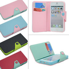 PU LEATHER WALLET TPU GEL Stand Case FLIP Cover For Apple iPhone 5 5g 5th 5S