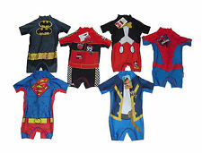 BOYS SWIMSUIT ALL IN ONE SUNSUIT BATMAN SPIDERMAN JAKE MICKEY CARS & SUPERMAN