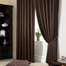 Brown Jacquard Curtains - Fully Lined Faux Silk Ready Made Pencil Pleat Curtain