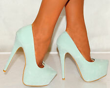 LADIES WOMENS SUEDE MINT GREEN PLATFORMS STILETTO COURT SHOES PARTY HIGH HEELS