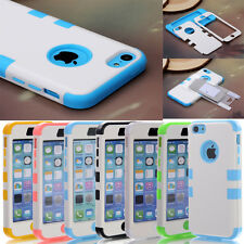 Colorful Heavy Duty Hybrid Rugged Hard Case Cover For iPhone 5C C +Stylus + Film