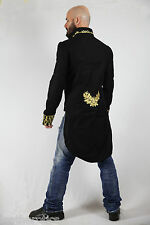 TAILCOAT BLACK COTTON MENS embroidered OUTFIT VINTAGE WEDDING DRESS ST7 GOLD