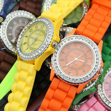 Hot Sell Geneva Silicone Women Bling Crystal Rhinestone Bezel Rubber Jelly Watch