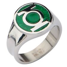 AUTHENTIC GREEN LANTERN LOGO DC COMICS SUPERHERO STAINLESS STEEL RING 8 10 12 14