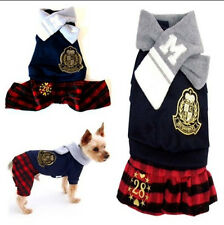 Small dog pet clothes apparel red plaid jumpsuit&dress for boy&girl dog XS-XL