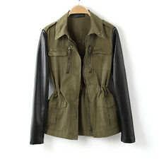 Women Military Green Contrast Jacket Coat Blazer Faux Leather Sleeve stud Collar