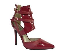 POTION 111! Women's Sexy Glossy Pointy Ankle Strap Buckle High Heel Pumps in Red
