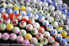 10pcs 10mm Round Flower Designs Ceramic Spacer Fimo Clay Beads Porcelain Charms