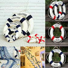 HOT SELL Welcome BLUE RED Nautical Home Wall Decor Ship Boat Ring Life Preserver