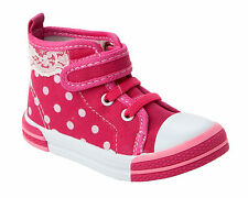 GIRLS PINK FANCY CANVAS CASUAL SHOES HIGH HI TOP TRAINERS INFANTS UK SIZE 4-12