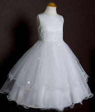 Flower Girls First Communion Triple Layered Tulle White Dress Pageant Wedding