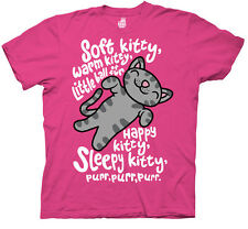 Big Bang Theory Soft Kitty Song Fuchsia Pink Licensed Adult T Shirt S-3XL