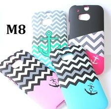 For HTC ONE M8 / ONE 2 - HARD SNAP ON FITTED SKIN CASE COVER CHEVRON / ANCHOR