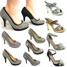 WOMEN LADY DIAMENTS PEARL MID HEEL WEDDING PARTY EVENING BRIDAL PROM SANDAL