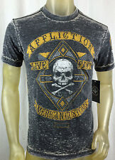 I.R. AFFLICTION men PALE ALE SS 50 A8411 burnout GRAY T-shirt Skull 1973 S-L